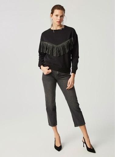 Monamoda Püskül Taşlı Loose Fit Sweatshirt Siyah